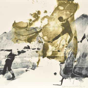 Robert Rauschenberg, Ace, from the Ruminations series, 1999, intaglio in two colors with etching on Arches En Tout Cas paper, edition 3/46, 30 ½ × 45 ¾ inches. Asheville Art Museum. © Robert Rauschenberg Foundation.