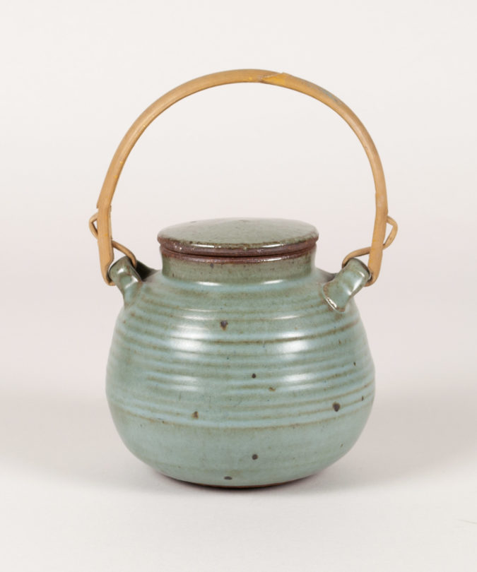 Lidded vessel with bamboo handle