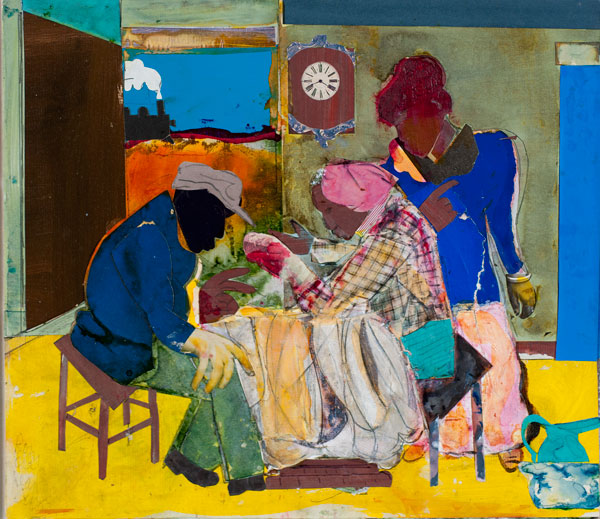 Romare Bearden, Sunset Express, 1984, collage on panel, 12 ⅝ × 14 inches. Museum purchase, 1985.04.1.29. © The Romare Bearden Foundation / Artists Rights Society (ARS), New York.