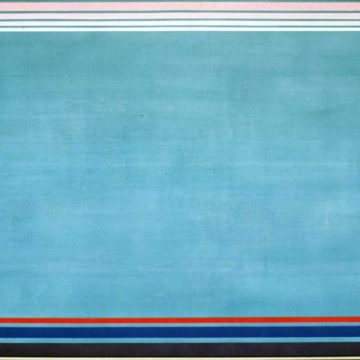 Kenneth Noland, NORTH SOUTH EAST WEST, 1990, acrylic on canvas, 66 ⅝ × 120 inches. Black Mountain College Collection, gift of the Artist, 1992.01.24. © Estate of Kenneth Noland / Artists Rights Society (ARS), New York.