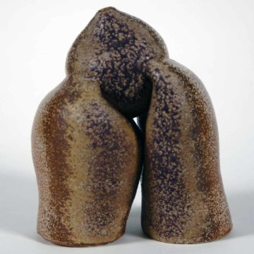 Karen Karnes, Untitled Sculpture, 2003, wood-fired and glazed stoneware, 8-1/2 × 5-3/8 inches. Black Mountain College Collection, Museum purchase with funds provided by June & Vito Lenoci, Helga & Jack Beam, and Pamela L. Myers in memory of James Roy Moody, 2004.11.85.