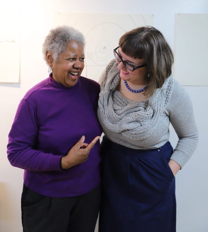 Artist Clarissa Sligh (left) with Curatorial Assistant Lola Clairmont. [Photo by Shauna Caldwell]