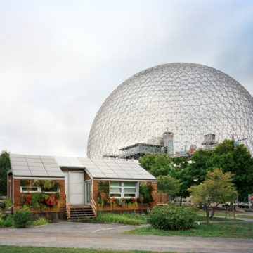 "Jade Doskow, Montreal 1967 World's Fair, ""Man and His World,"" Buckminster Fuller's Geodesic Dome with Solar Experimental House, 2012, archival pigment print on paper, edition 3/5, 40 × 50 inches. Museum purchase with funds provided by 2018 Collectors' Circle Member Vito Lenoci and the Lenoci Family in honor of the Nat C. Myers Fund for Photography."