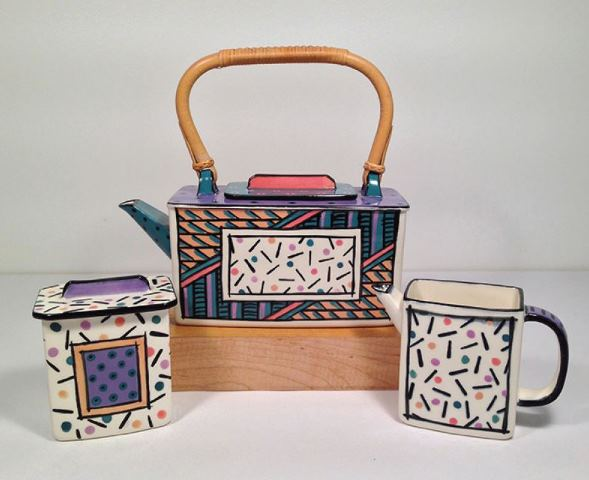 Dorothy Hafner, Kyoto Homage tea set, 1980, porcelain, slip cast, engobe decoration, clear cover glaze; teapot: 8 ½ × 10 ¼ × 4 ¼ inches. Museum purchase with funds provided by 2018 Collectors' Circle Members Nancy Crosby and Fran Myers.