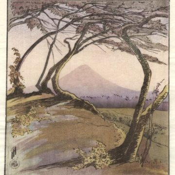 Helen Hyde, Mount Orizaba from Jalapa, Mexico, 1912,​ color woodcut on Japanese paper, edition unstated, image: ​9 ¾ × 9 inches. Museum purchase with funds provided by 2018 Collectors' Circle Member Gary Anderson.