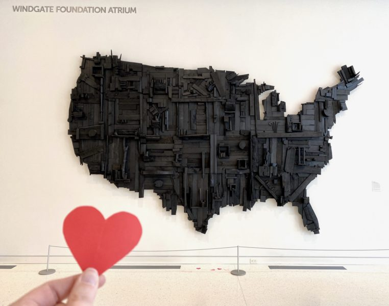 Wesley Clark, My Big Black America, 2015, stain, spray paint, latex, and salvaged wood, 192 × 120 × 14 inches. Museum purchase with major support from 2017 A.R.T. members Ron & Nancy Edgerton, Kevin Click, Butch & Kathy Patrick, Rick & Maggi Swanson, and Monty McCutchen & Terri Sigler, and additional contributions from 2017 A.R.T. members Miller & Constance Williams, 2017.39.01. © Wesley Clark.