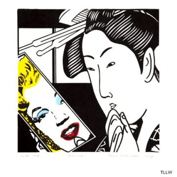 Roger Shimomura, Marilyn, 2014, color lithograph, edition 63/74, 14 × 13 inches. Museum purchase with funds provided by 2018 Collectors' Circle Members Susan Holden and Gary & Olivia Zahler.