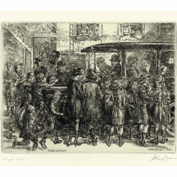 John Sloan, The Movey Troupe, 1920, etching on paper, edition of 100 (50 printed), image: 5 ¼ × 7 ⅞ inches. Museum purchase with funds provided by 2018 Collectors' Circle Members Russell & Ladene Newton in memory of Nancy Albyn.