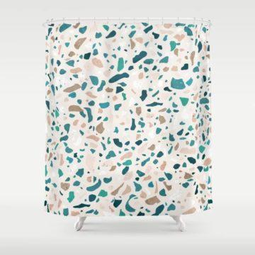 Terrazzo turquiose pattern shower curtain via Society6