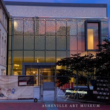 @dianestravelheart Love photographing the new addition to the Asheville Art Museum. The window reflections & building colors continually changes as the sky darkens! ??Patiently waiting to see more inside when the Asheville Art Museum opens later this summer??